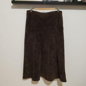 Danier Brown y2k Suede Midi Skirt